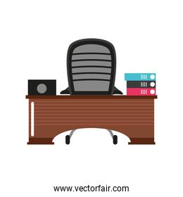 business office workspace desk chair laptop and binder