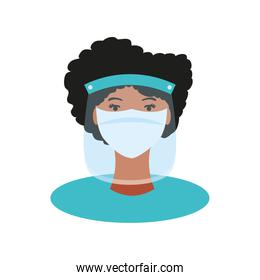 coronavirus covid 19 prevention doctor with shield mask and suit