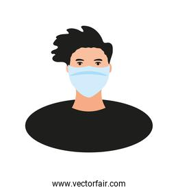 coronavirus covid 19 prevention young man with face mask