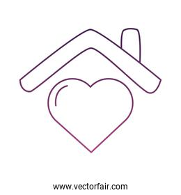heart love in house line style icon