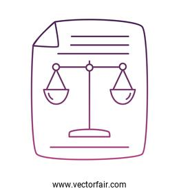 paper document with scale balance line style icon