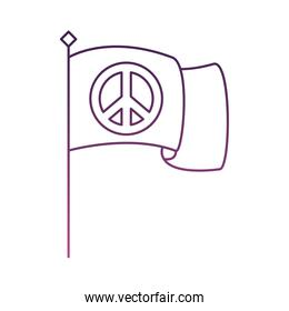 peace symbol in flag line style icon