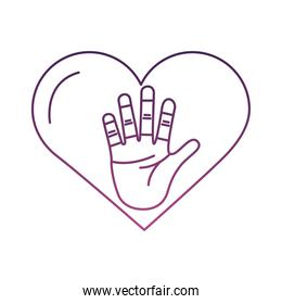 heart love with hand palm symbol line style icon