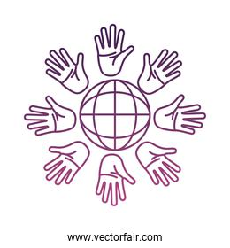 hands palms around of sphere browser line style icon