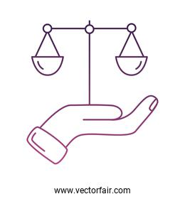 hand lifting scale balance line style icon