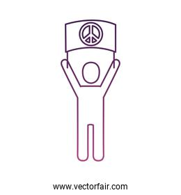 activist avatar lifting banner with peace symbol line style icon