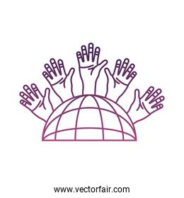 sphere browser with hands people around line style icon