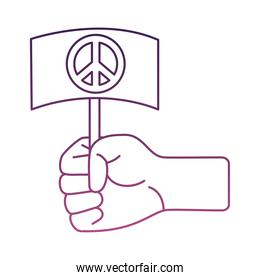 hand lifting banner with peace symbol line style icon