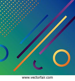green color geometric vivid background with lines and circles