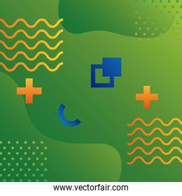 green color geometric vivid background with figures