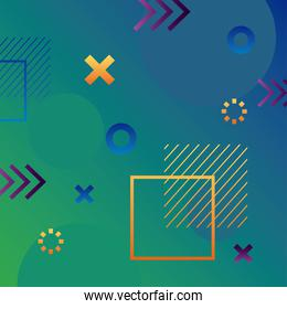 green color geometric vivid background with arrows