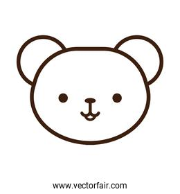 cute little bear kawaii animal line style