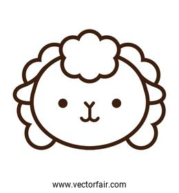 cute little sheep kawaii animal line style