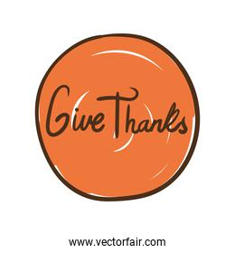 give thanks lettering hand draw style icon