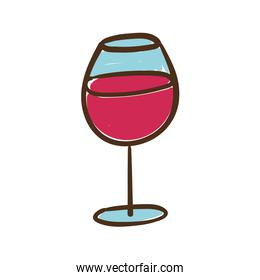 wine cup hand draw style icon