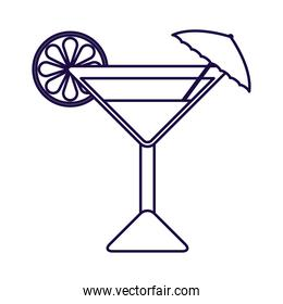 tropical cocktail cup with umbrella linear style icon