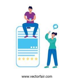 young couple chatting with smartphones