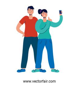 young couple using smartphone technology characters