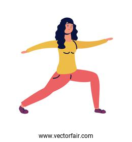 young woman practicing exercise character