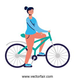 young woman ride bike practicing activity character