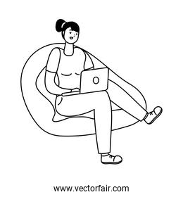 young woman seated in sofa using laptop line style icon