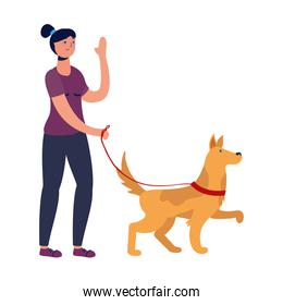 young woman walking with dog practicing activity