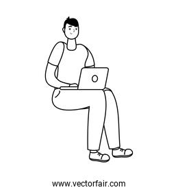 young man seated using laptop technology line style