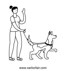 young woman walking with dog practicing activity line style