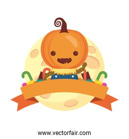 happy halloween cute boy disguise of pumpkin with ribbon frame