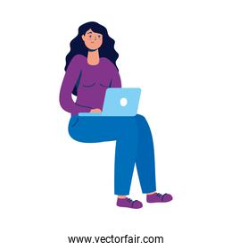 young woman seated using laptop technology character