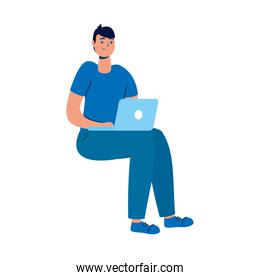 young man seated using laptop technology character