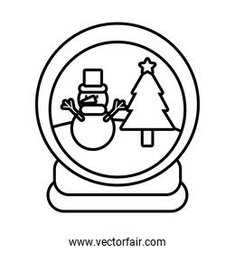 happy merry christmas snowman in winter ball line style icon