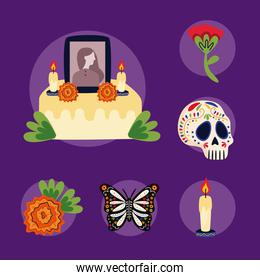 mexican altar of day of the dead with set flat style icons