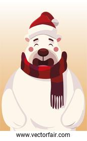 merry christmas cute polar bear with hat and scarf celebration