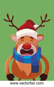 merry christmas cute reindeer with scarf and hat cartoon
