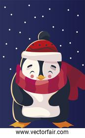 merry christmas cute penguin with hat and scarf character