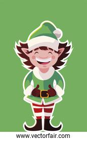 merry christmas cute helper character in sticker style