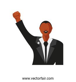 Martin Luther King Day portrait character hand raised