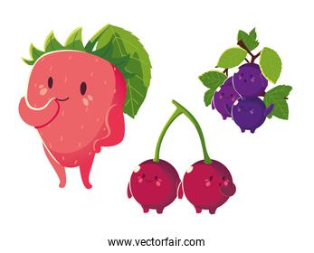 fruits kawaii funny face happiness strawberry grapes and cherries