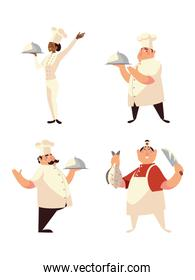 chef icons set woman with platter and men with food and knife