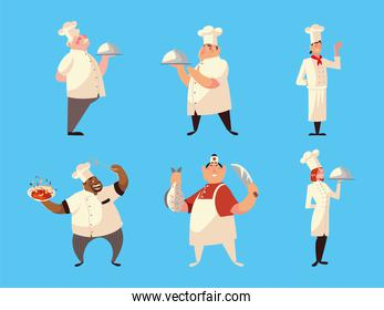 different chefs in uniform with soup dish fish and knife on blue background