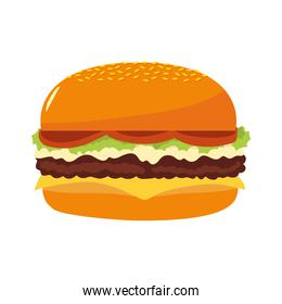 fast food burger delicious and tasty icon isolated image