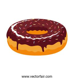 sweet donut with sprinkles and chocolate food icon
