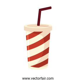 striped takeaway cup with straw soda food