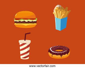 fast food icons set burger soda french fries and donut