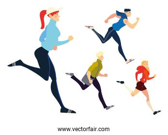 running people sport activity and exercising design