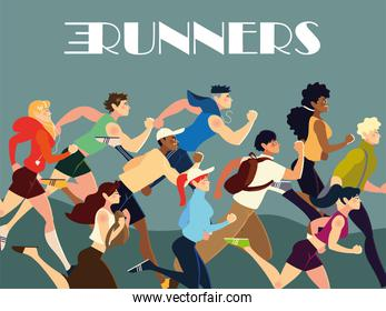 runners people characters practicing different activity lifestyle