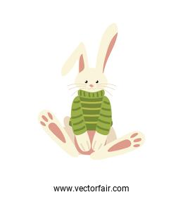 christmas cute rabbit with green sweater animal celebration isolated design