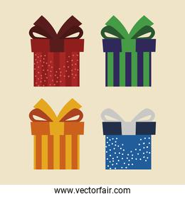 set of icons gift boxes present surprise celebration