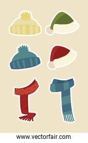 winter clothes hats scarf warm accessory fashion stickers icons